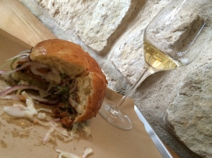 2014-05-07 Paris Verjus Wine Bar for lunch fried chicken sandwich