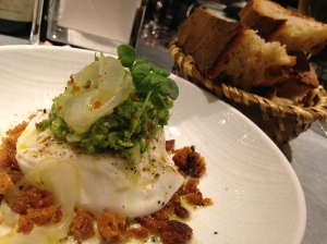 2014-05-08 Frenchie burratta with fava pesto