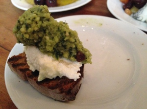 2014-05-08 Paris Buvette Pea pesto and lemon riccotta on toast