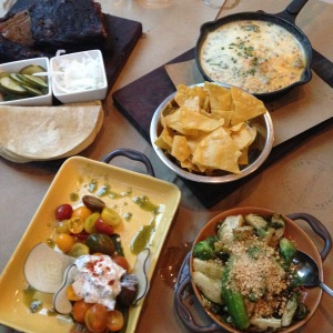 2015-07-04 Nashville Butchertown Hall trinity queso tomatoes and brussels